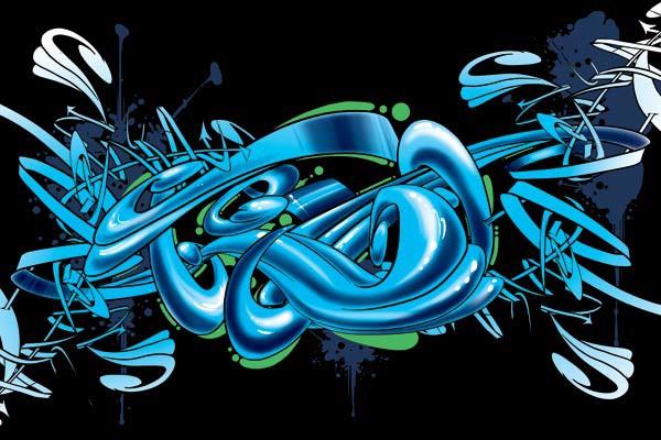 Tableau abstrait graff